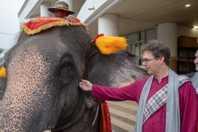 Professor Scherer with one of the elephants at the opening of the forum